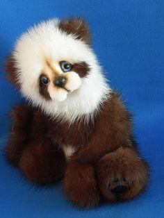 Guardian Panda-Handmade mink bear by Kim...so lovely...she's so talented!