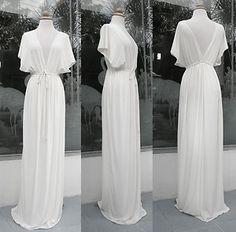 White COCKTAIL Kimono Wedding Boho Dress $200