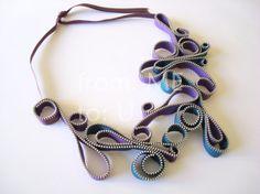 SWIRLS Zipper Bib Necklace  Purple & Teal Zipper by fromMEtoU1, €50.00