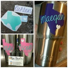 Items similar to Custom Yeti Decal Personalized State and Name vinyl decal sticker Yeti mug, tumbler, rambler, cup on Etsy Crafty Projects, Vinyl Projects, Monogram Stickers, Cricut Monogram, Circuit Crafts, Yeti Decals, Yeti Cup, Monogram Design, Cup Design