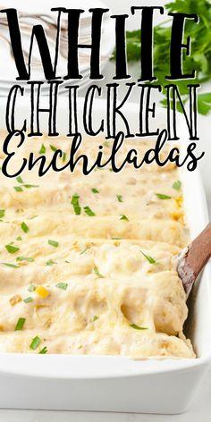 White Sauce Recipes, Recipes With Enchilada Sauce, White Mexican Cheese Sauce Recipe, Enchilada Recipe With White Sauce, Recipe For White Sauce, Chicken Enchilada Sauce Recipe, Creamy Enchilada Recipe, Mexican White Sauce, Chicken Enchiladas White Sauce