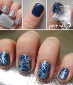 Lindisima Blog: Diseño de uñas marmolado con plástico