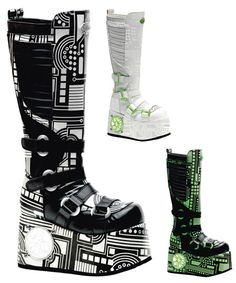 cyber boots, i would wear these if they weren't platforms