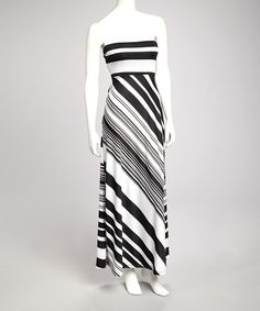 Take a look at this Black & White Stripe Strapless Maxi Dress by Bailey Blue on #zulily today!