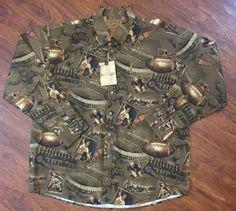 North River Football Brown Corduroy Button Shirt Sz XL NWT Soft! Retail $38 #NorthRiver #ButtonFront