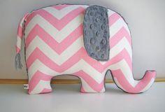 Elephant Nursery Chevron Elephant Pillow Modern by bakerbaby