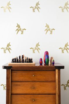 Funny and Funky Geometric Unicorn Wall Decal Pattern Set by iinky