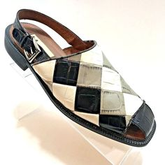 b557dac1e02 Marco Vicci Niagara Leather Sandals Checkerboard Buckle Unique Sz 10M Shoe  EU 42  MarcoVicci  LoafersSlipOns