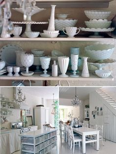 love all of the milk glass. Love Milk Glass and I have a collection of it..Its just packed. Reminds me of Meg!