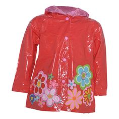 Rainy weather will be pleasant with this waterproof rain coat by Wippette suitable for girls wear. The red coat has floral pattern, snap front closure and it is lined. The protective snapped hood and waterproof outer shell makes it so comfy. It will provi