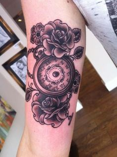 (Left back of calf) ( under compass tattoo) (roses in between and above and below clock and compass) Roses and Clock Tattoo By Lauren