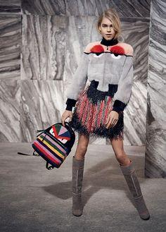 Line Brems in Fendi's Fur Autumn/Winter Fur Fashion, Love Fashion, Fashion Models, High Fashion, Winter Fashion, Celebrities Fashion, Fashion Details, Fashion Designers, Fashion Styles