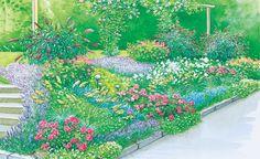 Hübsche Beete am Hang -  Einen Hang zu bepflanzen bedeutet eine echte Herausforderung. Mit der richtigen Pflanzenauswahl können Sie jedoch auch ein abschüssiges Gelände in ein wunderschönes Beet verwandeln. Hier finden Sie zwei Gestaltungsvorschläge mit Pflanzplänen zum Herunterladen.