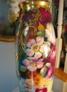 """Outstanding HUGE Antique Limoges France 22"""" Floor Vase Gorgeous Roses~ from theverybest on Ruby Lane"""