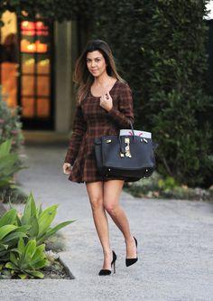 Kourtney Kardashian wearing Hermes Birkin Bag in Black Jean-Michel Cazabat Ella Suede D'orsay Pumps Gypsy Junkies Alpha Plaid Dress  Andy LeCompte salon in West Hollywood February 21 2013