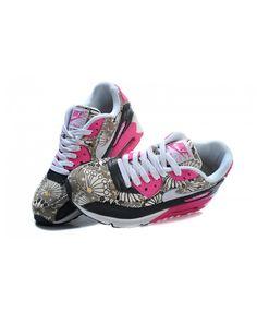 f10f58ee183 Nike Air Max 90 Womens Bright Black Gray Peachblow Running Sneakers Sale UK