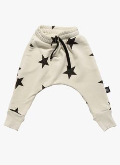 Nununu Star Baggy French Terry Pants in White - NU0645