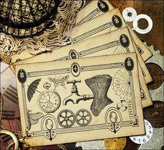 Satz von vier handgemachte Karten große für Scrapbooking. Photoshop, auf Karton gedruckt und an den Rändern und auf der Fläche um ihm ein Vintage