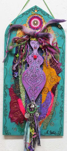 Turquoise and purple goddess, mixed media assemblage. Fabric Dolls, Fabric Art, Paper Dolls, Art Dolls, Art Altéré, Goddess Art, Goddess Pagan, Hippie Goddess, Spirited Art