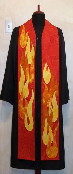 """Red Clergy Stole for Pentecost, Ordinations, Etc. -- Dancing, Descending Flames -- 50"""" Length -- Available for IMMEDIATE SHIPPING. $285.00, via Etsy."""