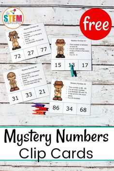 Easy and free mystery number clip cards! A fun hands-on way to work on math!  The cards challenge kids to review odd and even, adding and subtracting, and place value in the ones and tens places… all at the same time! Great for first and second grade!
