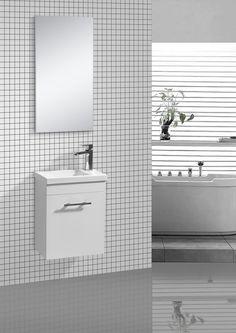 GUEST weiß 2 tlg. Badmöbel Set Badezimmer Möbel Garnitur + Waschtisch / Spiegel
