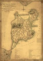 """Scale ca. 1:9,600. Manuscript, pen-and-ink and watercolor. Relief shown by hachures. """"N.B. Since the evacuation of Boston ... """" LC Maps of North America, 1750-1789, 933 Available also through the Library of Congress Web site as a raster image. Annotated: Engraved & printed for Wm. Faden, Charing Cross. Includes """"References to the fortifications &ca."""" and """"References to the town."""" Vault AACR2: 100; 651/1; 650/2; 651/3; 651/4"""