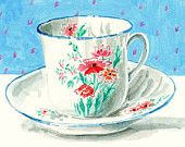 Still Life Kitchen Decor Art Print of Original Watercolor Painting -- Cup and Saucer