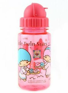 Amazon.com: Sanrio Little Twin Stars BPA FREE Plastic Water Bottle With Straw 12-ounce: Kitchen & Dining