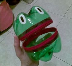make this little frog bottle mouth to catch letters, numbers, shapes, etc