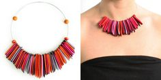 A thin memory wire wraps around your neck holding a fringe of tagua chips with skin on the edges.  This tagua necklace is ethically handmade in Colombia using eco friendly dyes.