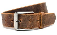 A sturdy nickel free buckle is paired with a handcrafted distressed leather strap improves with age, as natural oils give it unique coloring over time. Super strong leather brightens in appearance when it is pulled or bent. Full Grain Leather Wallet, Leather Bifold Wallet, Leather Belts, Men's Belts, Rugged Men, Casual Belt, Distressed Leather, Brown Leather, Belts For Women