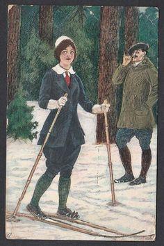 Andreas Bloch - Mann og dame på ski. Mittet brukt 1913