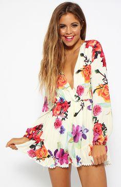P89 Celebrity Style Women's Deep V Neck Floral Print Jumpsuits Playsuits Ladies Playsuits Summer Rompers Pants New Free Shipping in   Dimensioni informazioni:(tessuto leggermente tratto) Stile 1--- pieno manica(ha linning all'interno)da Tute & pagliaccetti su AliExpress.com | Gruppo Alibaba