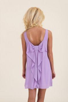 Lavender bow back dress.