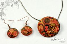 Polymer Clay Jewelry Set: Pendant, Earrings and a Ring  https://www.etsy.com/listing/177544954/polymer-clay-jewelry-set-pendant