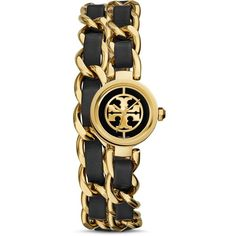 Tory Burch The Reva Leather Chain Wrap Watch, 20mm (€370) ❤ liked on Polyvore featuring jewelry, watches, black, leather wrap watch, tory burch, leather jewelry, tory burch jewelry and chain jewelry