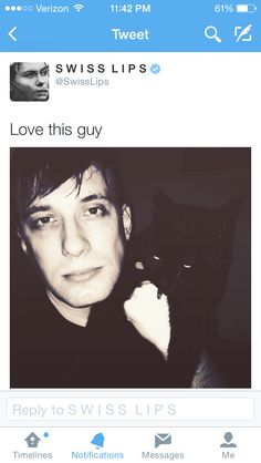 Sam Hammond with his cat Hercules, a selfie that he later deleted