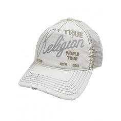 True Religion Embroidered Logo Distressed Trucker Hat Cap, White