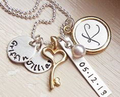 Mothers Personalized Name Initial Date Mommys Necklace Silver Gold Brass Hand Stamped Heart Key Charm Jewelry via Etsy.