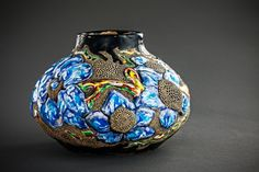 Small vase with blue flowers and leaves by Landby on Etsy, $700.00