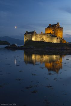 Scotland Eilean Donan Castle by Andrea Verni on -Eerily beautiful - the sea, a castle and beautiful night lights - my kind of holiday (: Beautiful Castles, Beautiful Places, Amazing Places, Oh The Places You'll Go, Places To Visit, Scotland Castles, Scottish Castles, Castles To Visit, Eilean Donan