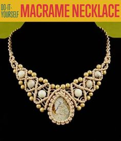 Necklace with Stone and Beads   - step by step macrame instructions w/pictures as well as a 33 minute video.  #Macrame