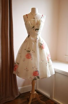 1950's Floral Print Garden Party Dress in Silk by xtabayvintage, $298.00