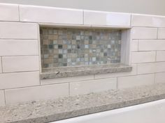 Horizontal niche with mosaic background and quartz base Shower Niche, Mosaic, Garage Doors, Quartz, Base, Outdoor Decor, Home Decor, Homemade Home Decor, Decoration Home
