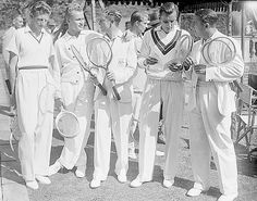 Sir Arthur and Lady Crosfield's tennis party at their Highgate home. Budge, Mako, Turbull, Austin, Perry & Von Cramm