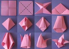 Origami Flowers Step by Step Tutorials: Origami is magical in true sense. It wa. Origami Flowers Step by Step Tutorials: Origami is magical in true sense. It was invented in China Tulip Origami, Origami Lotus Flower, Origami 3d, Origami Fish, Origami Folding, Useful Origami, Origami Design, Origami Ball, Origami Hearts