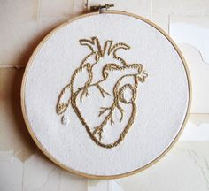 anatomical heart embroidery.
