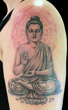 Buddha sitting in lotus position with hand mudra. This elegant spiritual tattoo was inked by Natalia from Beaver Tattoo.