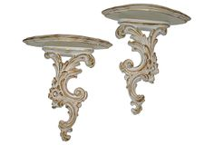 White Painted Gilt Shelves, Pair on OneKingsLane.com